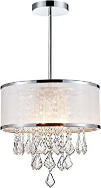 ANJIADENGSHI Modern K9 Crystal Chandelier Lighting Drum LED Ceiling Chandelier for Dining Room Bedroom Living Room 4 E12 Bulb