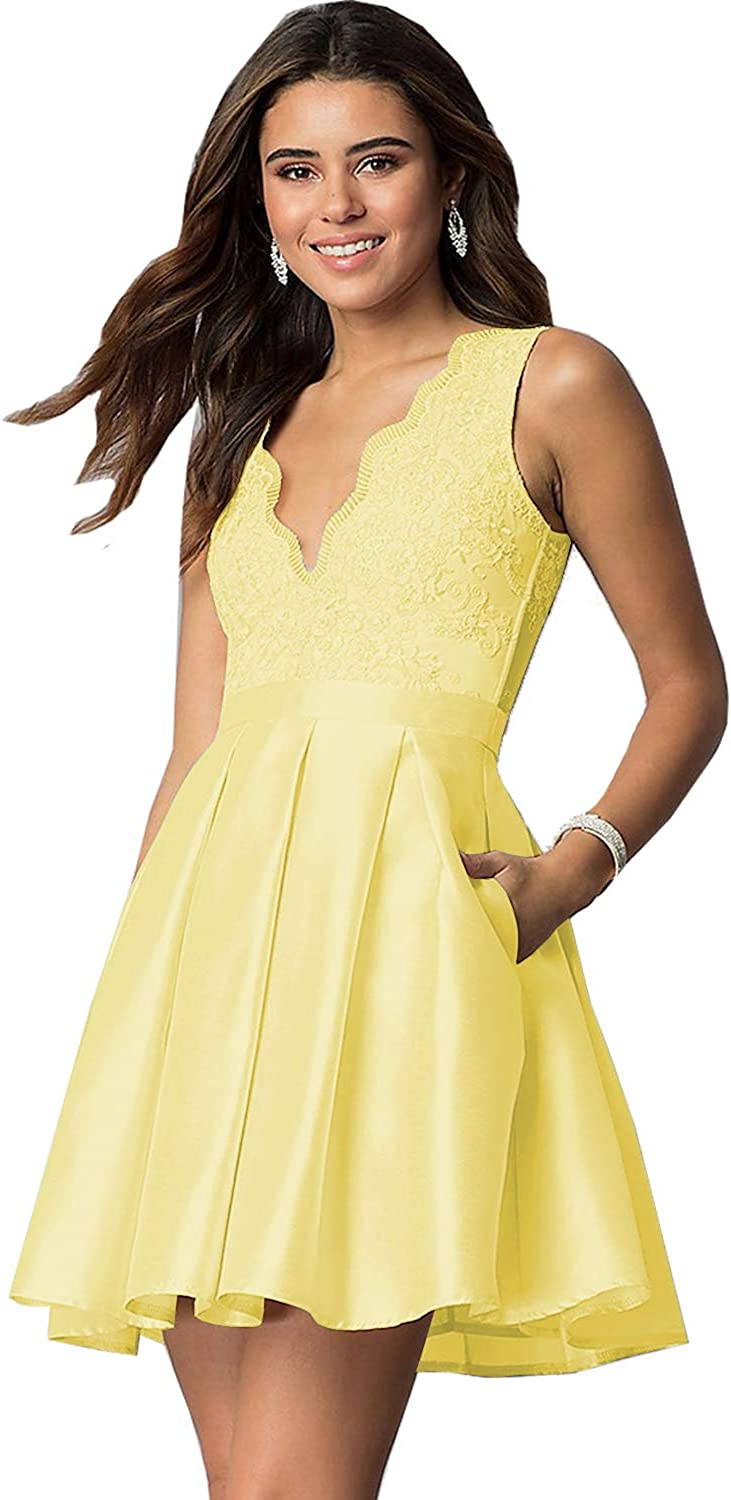 Yilis Women's A Line Lace Dress Short Prom Evening Party Gown With Pockets