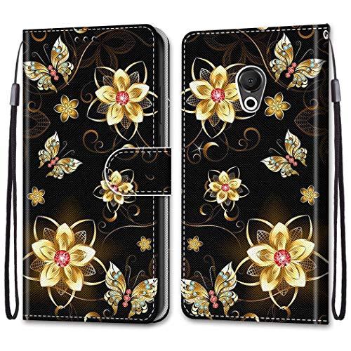 Ougger Hülle für Meizu 15 Lite, M15 Handyhüllen Flip Hülle Cover Stylish mit Standfunktion & Magnetisch PU Tasche Schutzhülle passt für Meizu 15 Lite, M15 (Schmetterlings-Gold)