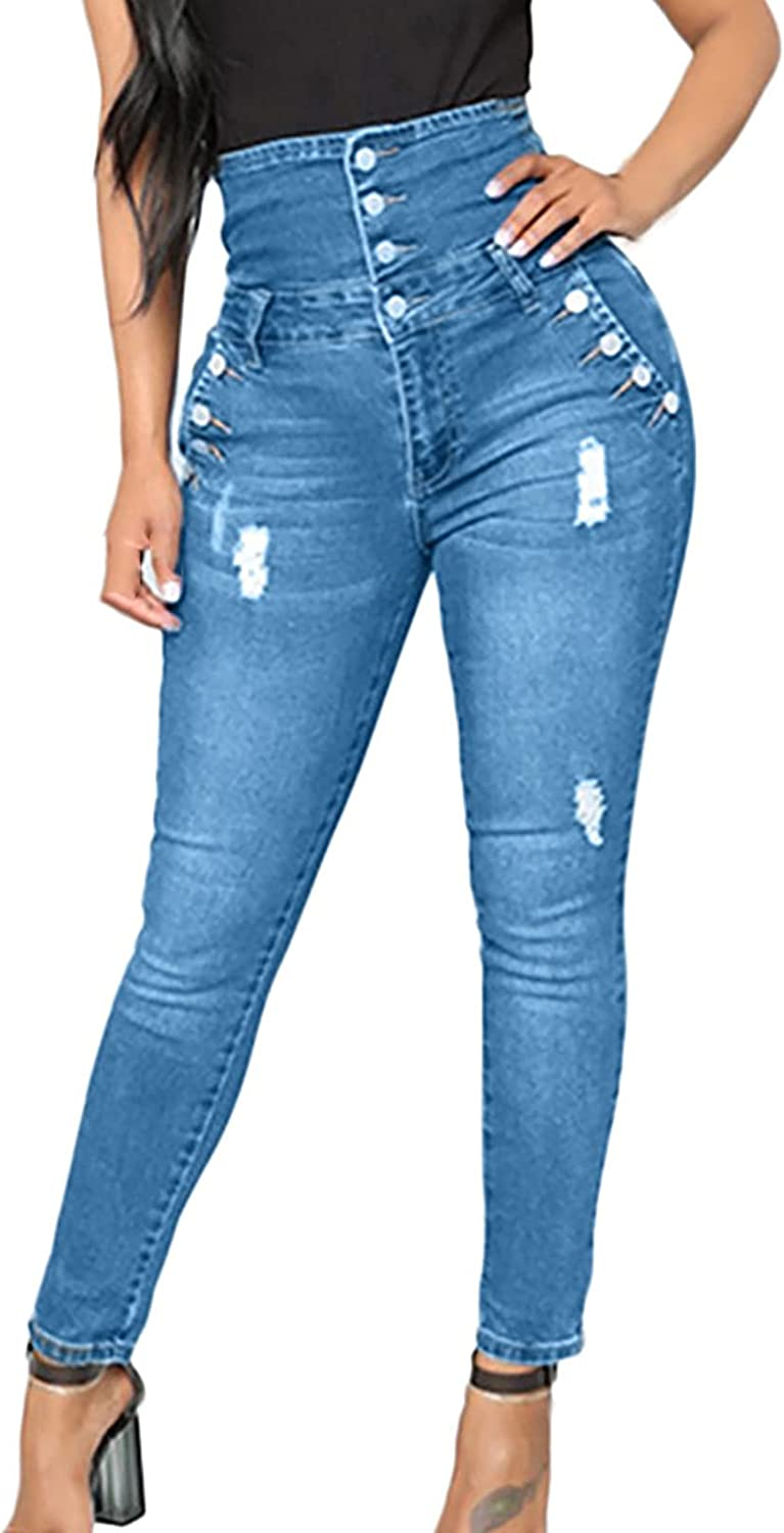 Women High Waist Skinny Stretch Ripped Jeans Sexy Butt Lift Classic Button Jean Pants Distressed Jeans Pants