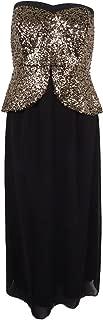 Sequin Peplum Maxi Dress in Black - Size 14 / XS