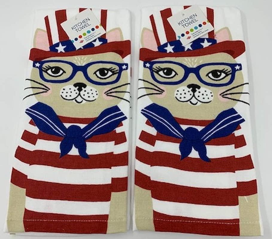 Ritz Patriotic Kitty Cat Kitchen Dish Towel 2 Pk Set