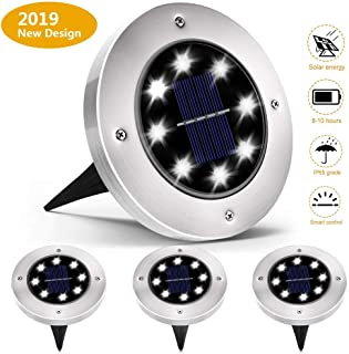 Solar Lights Outdoor,Solar Powered Ground Lights,Super Bright 8 LED,IP65 Waterproof Outdoor 2.8 Inch Solar Disk Light with for Garden Pathway Yard  Lawn,Driveway,White(4-Pack)