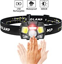 iToncs Headlamp Rechargeable,600 Lumen Ultra-Bright USB Rechargeable Headlight with Red Light,Lightweight,LED HeadLamps with Motion Sensor,Waterproof,5 Modes Work Lights for Adults and Kids