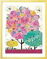 プレゼント お祝い 絵画アート 「しあわせ花音(カノン)」 【名前入れ可・Mサイズ】 誕生日プレゼント 女性 30代 40代 50代 60代 70代 母親 花束 花 ギフト