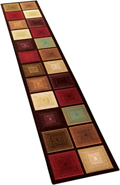 """Collections Etc Optic Squares Runner Rug in Deep, Rich Hues - Skid-Resistant Backing Perfect for Hallway, 20"""" X 120"""""""
