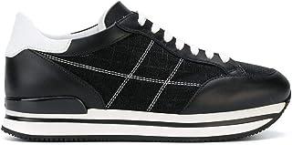 HOGAN Women's HXW2220K020IFJ0002 White/Black Leather Sneakers