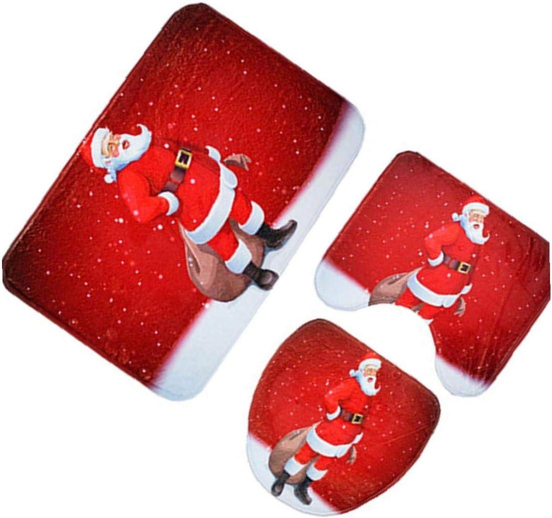 3pcs De Navidad//WC Cubierta del Asiento Y Alfombras Conjunto Decorativo De Navidad De Asiento De Inodoro Y La Cubierta del Tanque Conjunto para Las Decoraciones De Navidad Ba/ño mu/ñeco De Nieve
