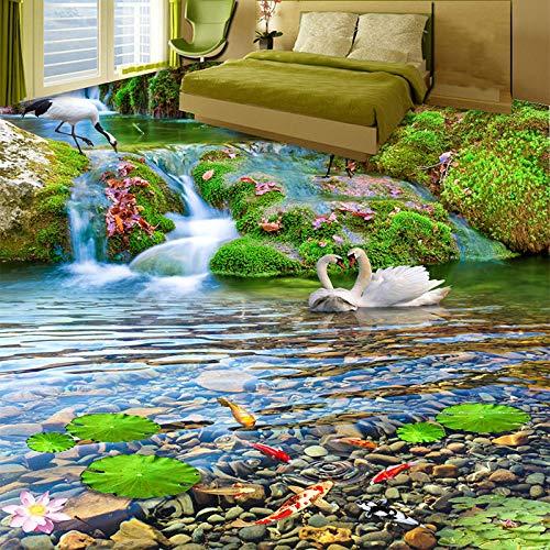 Papel tapiz mural personalizado Cascadas 3D Grulla de corona roja Paisaje de peces de colores 3D Azulejos de piso Etiqueta de pintura PVC Impermeable Fresco-200 * 140cm