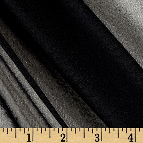 Preview Textile Group 100% Silk Chiffon Fabric by The Yard, Black