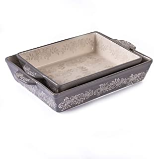 """Oven to Table Casserole Dish Set - 100% Stoneware Ceramic Baking Dishes for Cooking & Serving, Lasagna Pan Bakeware is Dishwasher & Microwave Safe - 13"""" x 10.5"""" & 11"""" x 9"""" Cookware Pans"""
