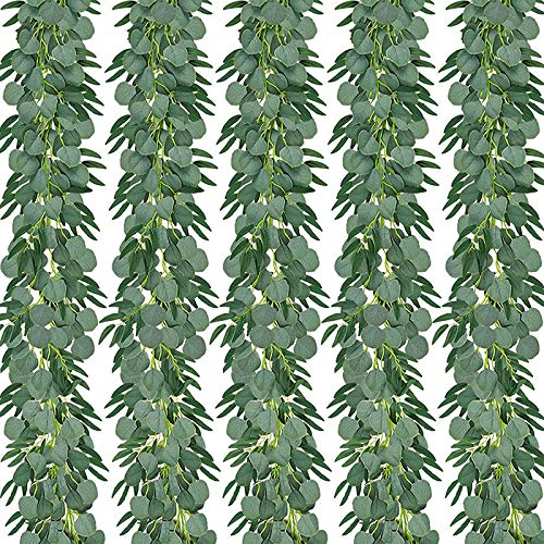 Tuneway 5-Pack 6.5 Feet Artificial Eucalyptus with Willow Garland Fake Vine Plant with Leaves Faux Silver Dollar Greenery