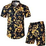 LucMatton Men's 2 Piece Floral Outfits Hipster Luxury Print Short Sleeve Button Down Shirt and Shorts Set for Club Party Navy Gold Medium