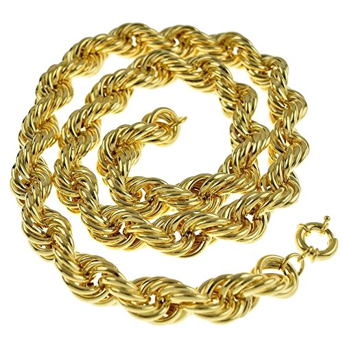 Bling Cartel Hollow Rope Chain 20mm Thick 14K Gold Plated Old School Style Hip Hop Dookie 30 Inch Necklace