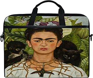 DJROW Frida Kahlo Self-Portrait with Thorn Necklace and Hummingbird Sleeve Case Cover Laptop Shoulder Briefcase Bag for 15-15.4 Inch Laptop Notebook