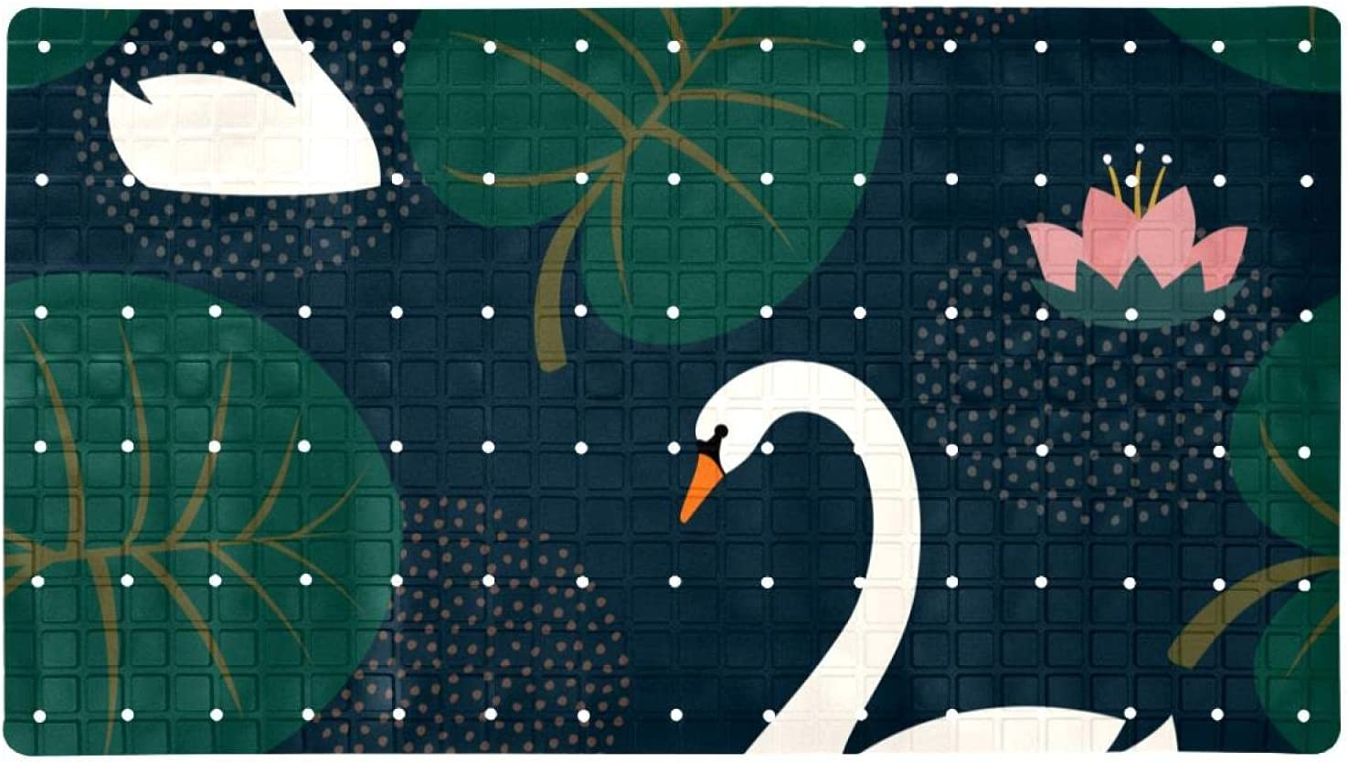 Bath Tub Shower Mat 15.7x27.9 inches Swans White and Lily In a popularity Water It is very popular