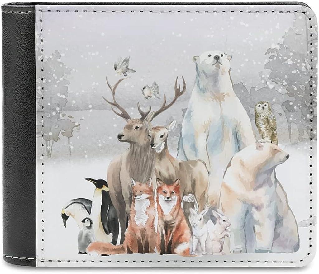 Bhqcflkwpz Snow Deer Bear Bifold Print Purse Cartoon Louisville-Jefferson All stores are sold County Mall Slim Wallet