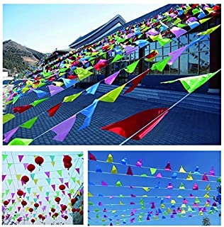 Spar.saa 250 Ft Multicolor Pennant Banners String Flag Banner, 200Pcs Nylon Fabric Pennant Flags for Grand Opening,Party Festivals Decorations