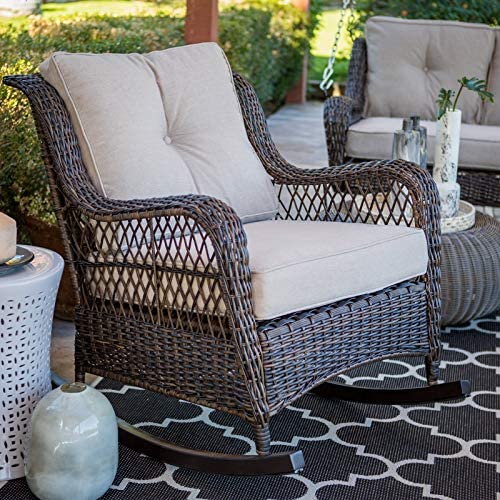 Best Classic Traditional Brown Resin Wicker Patio Comfort Back Rocking Chair Outdoor Porch Rocker Furnitu