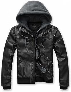 Aowofs Men's Premium Pu Leather Motorcycle Jacket with Detachable Hood, Black Jacket