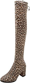 〓COOlCCI〓Over-The-Knee Boots for Women with Heel,Chunky Heel Knee High and Up Boots Thigh High Boots Stretchy Heel Boots