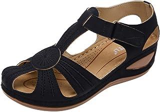comprar comparacion Luckycat Sandalias Punta Cerrada para Mujer Sandalias de Verano de Cuero Sandalias Planas Cómodos Sandalias Mujer de Cuero...