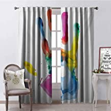 GUUVOR Watercolor 99% Blackout Curtains Close Up Colored Human Hand Print on The White Background Pam Artisan Picture for Bedroom Kindergarten Living Room W84 x G72 Inch Multicolor
