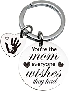 Mother Love Quotes Stainless Steel Key Chain Ring - Mother's Day Keychain - Best Mom Birthday Gifts from Son Daughter Husb...
