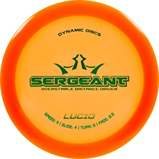 Dynamic Discs Lucid Sergeant Disc Golf Driver | Frisbee Golf Distance Driver | Overstable Golf Disc | Stamp Colors Will Vary