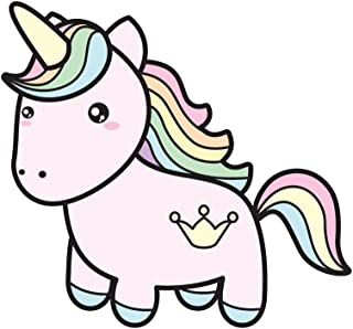 Applicable Pun Rainbow Hair Cute Unicorn with Crown Tattoo - Vinyl Decal for Outdoor Use on Cars, ATV, Boats, Windows and More - Color 4 inch