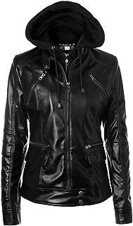 VearFit Shapher Moto Biker Genuine Lambskin Hooded Leather Jacket for Women