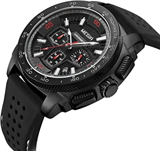 MEGIR Men's Analogue Chronograph Luminous Quartz Watch with Silicone Band Calendar Fashion Gift for Sport & Business Work