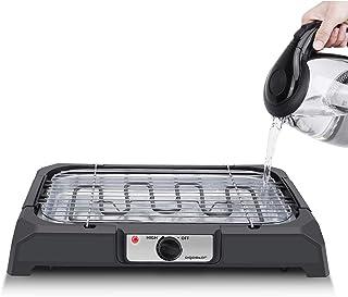 Aigostar Lava 31LDQ– Barbacoa eléctrica, Grill, 2000W, bandeja recoge grasa, uso con agua: evita los humos, uso en interiores, termostato, superficie antiadherente, apta para lavavajillas.