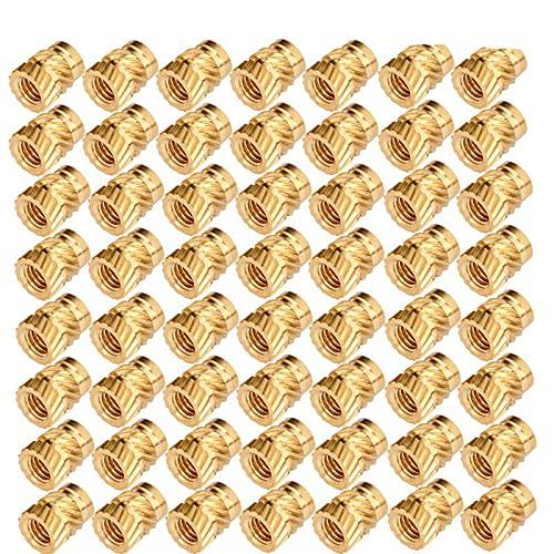 100pcs M3 Thread Knurled Brass Threaded Heat Set Heat Resistant Insert Embedment Nut for 3D Printer (Golden)-Default