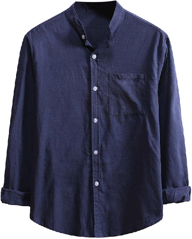 Bravetoshop Men's Button Down Shirt Cotton Linen Casual Regular Fit Long Sleeve Henley T-Shirts Loose Beach Yoga Tops