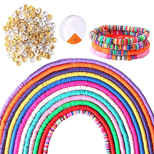 Hicdaw 5000PCS Clay Beads for Jewelry Making DIY Polymer Clay Beads Bracelets Supplies 12 Strands 6mm Vinyl Heishi Disc Beads Flat Round Beads Loose Handmade Spacer Bead for DIY Craft