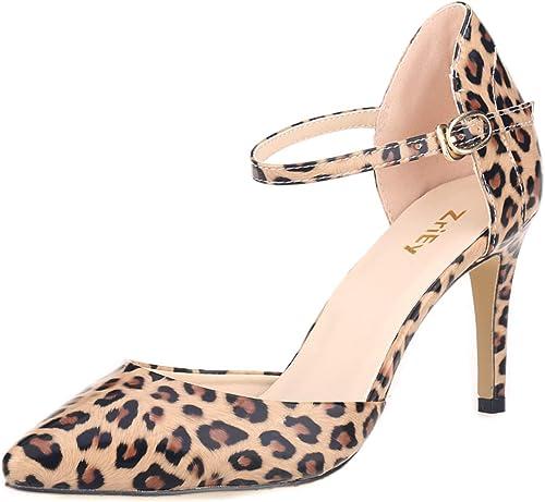 MKHDD Chaussures à Bout Pointu pour Femme, Bride à la Cheville, Talons Aiguilles et Chaussures de soirée élégantes
