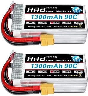HRB 2PCS 4S 14.8V 1300mAh 90C High Power LiPo Battery Pack with XT60 Plug for Racing Drone Multirotors FPV