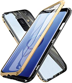 Galaxy S9 Case, WindCase 360 Protection Full-Body Screen Coverage Tempered Glass Back Metal Bumper with Magnetic Adsorption Flip Case Cover for Samsung Galaxy S9 Gold Black