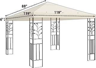 BenefitUSA 10'X10' Replacement Top Gazebo Canopy Cover Patio Pavilion Sunshade Plyester Single Tier (Ecr)