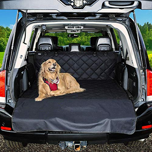 Vech Dog Car Seat Cover & Cargo Liner Rear Bench, Waterproof Pet Cargo Cover Dog Seat Cover Mat for SUVs Sedans Vans with Bumper Flap Protector, Non-Slip, Large Size Universal Fit
