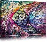 Bunte Fische Kunst Format: 120x80 auf Leinwand, XXL riesige