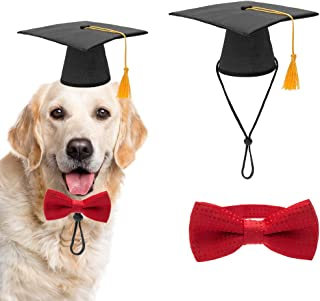 PAWCHIE Dog Graduation Hat with Yellow Tessel and Bow Tie Collar, Pet Grad Cap for Dogs Cats Costume Accessory
