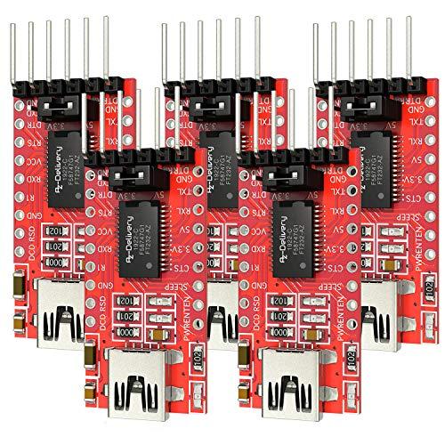 AZDelivery 5 x FT232RL USB zu TTL Serial Adapter für 3,3V und 5V inklusive E-Book!