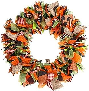 Naler Thanksgiving Fall Autumn Deco Mesh Welcome Door Wreath Brown Green Burlap Orange