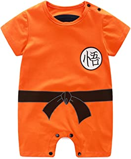 Es Unico Goku Bodysuits for Boys, Cotton One Piece Romper Outfit Baby Infant Orange