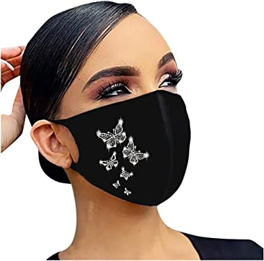 JYS Apparel Sparkle Reusable Face_Mask for Adult Christmas Printed Flash Diamond Rhinestone Cotton Breathable Face Coverings