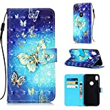 Voanice Moto E6 Case,PU Leather Wallet Case with Credit Card Slots Holder Kickstand Flip Phone Folio Cover Magnetic Wrist Strap Full Body Protective Girls Women for Motorola Moto E6 -BlueButterfly
