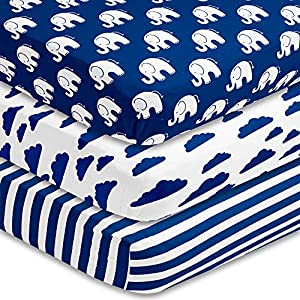 BaeBae Goods Fitted Baby Crib Sheets for Boys and Girls, 3 Pack, Soft and Breathable Jersey Cotton, Navy and White, Cute Gender Neutral Nursery Mattress Bedding, Universal Fit