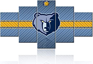 TUMOVO Basketball Sports Room Decor Memphis Grizzlies Pictures for Living Room NBA Paintings 5 Panel Canvas Wall Art Canva...